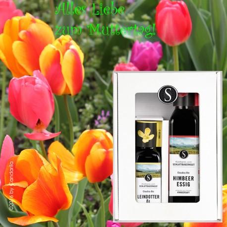 Muttertagsgeschenkbox Kombi mit Leindotteröl + Himbeeressig by Candarila